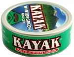 Kayak Fine Cut Wintergreen Chewing Tobacco made in USA, 10 x 5 can roll, 50 cans, 1700g total.