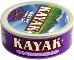 Kayak Long Cut Grape Chewing Tobacco made in USA, 10 x 5 can roll, 50 cans, 1700g total.