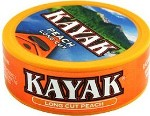 Kayak Long Cut Peach Chewing Tobacco made in USA, 10 x 5 can roll, 50 cans, 1700g total.