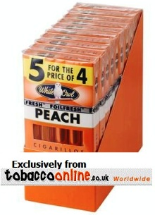 White Owl Cigarillos Peach 10/5 Natural Cigars, 3 x Pack of 50.